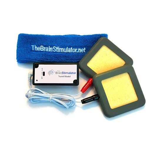 "The Brain Stimulator v2.0 Advanced tDCS Kit with 3x3"" Amrex Sponge Electrodes, Banana Plug Electrode Cables, and a Blue Electrode Positioning Headband"
