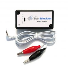 The Travel Model v2.0 tDCS Device with Alligator Clip Electrode Cables unplugged from the device